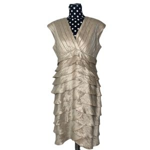 Adrianna Papell Ruffle Champagne Formal Dress 14